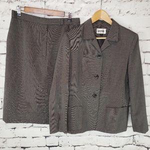 Kasper Black + Gray Skirt Suit Size 12